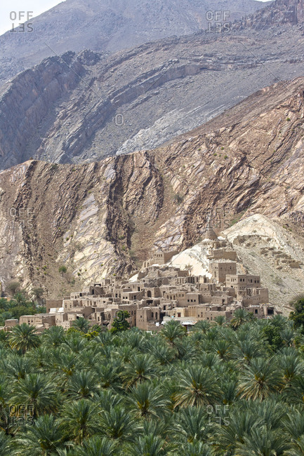 Old village of Birkit Al Mawz Oasis in Jabal Akhdar, Oman