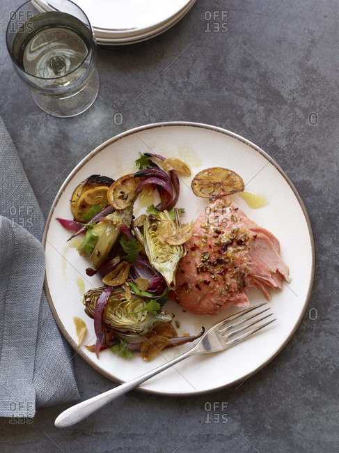 Roasted salmon fillet with roasted vegetables