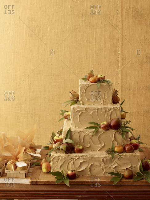 Rustic, four-tier wedding cake