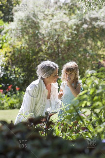 Grandmother and granddaughter in garden