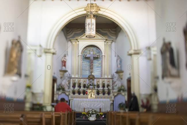 Altar and pews in Catholic church