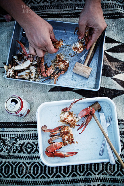 Eating crab on picnic blanket
