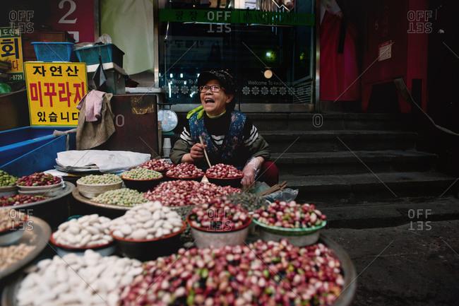 Seoul, South Korea - April 10,2014: Vendor at Kwang Jang Market
