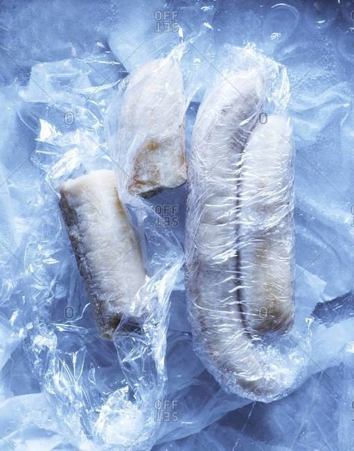 Frozen bananas wrapped in foil