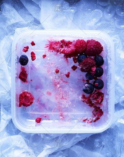Frozen berries in a plastic box