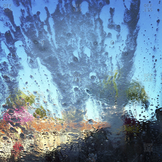 Soapy water on a windshield