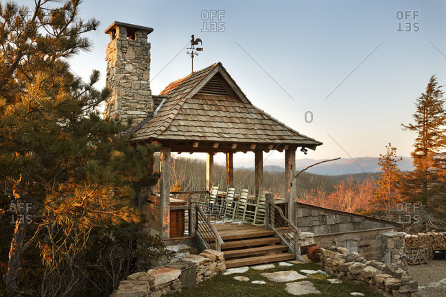 Rustic gazebo in the mountains