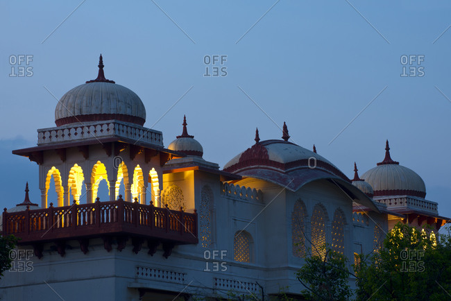Turrets of a former palace used by the Maharaja in Jaipur, Rajasthan, India, at twilight