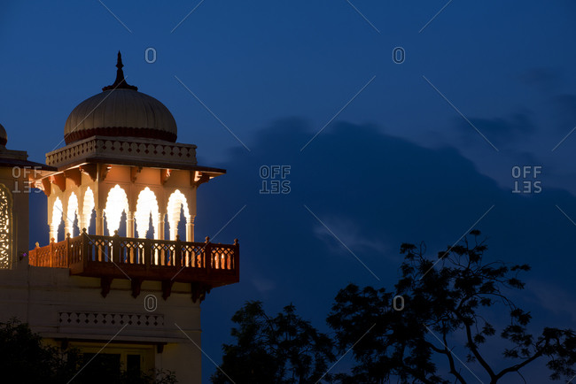 Detail of a former palace in Jaipur, India, at twilight