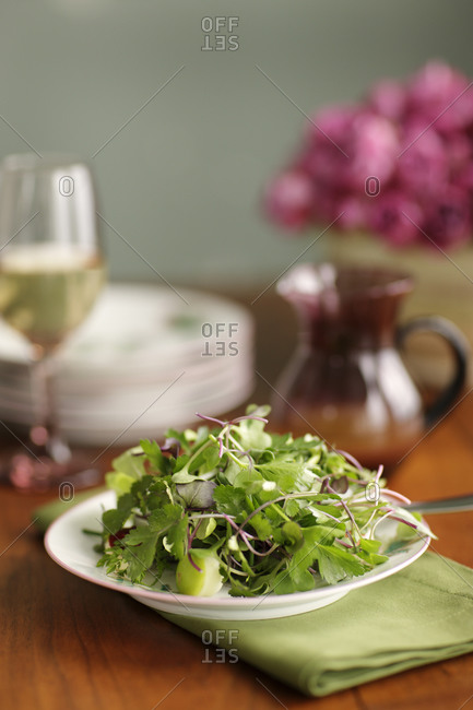 Lamb's lettuce salad with parsley served on a table