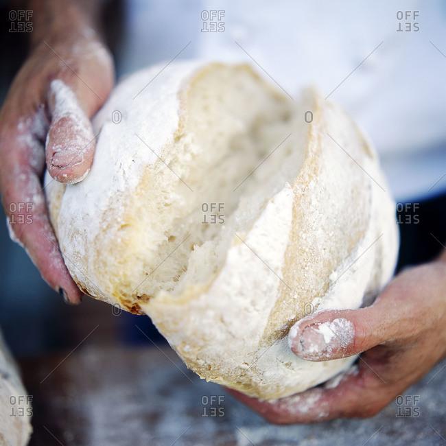 Baker breaking bread