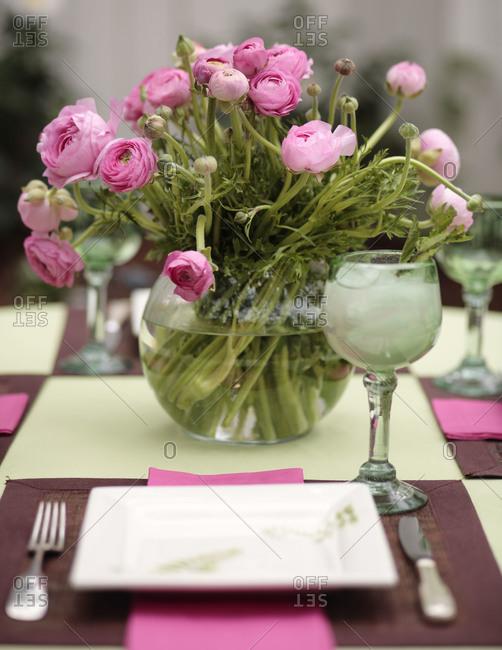 Pink ranunculus in round vase