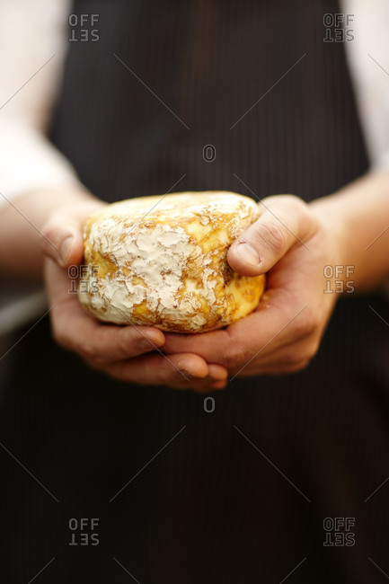 Person holding a bourbon flavored cheese
