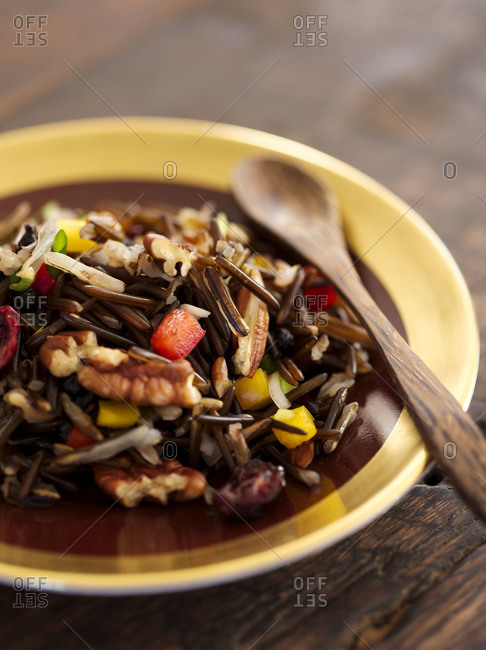 Close up of a plate of wild rice salad