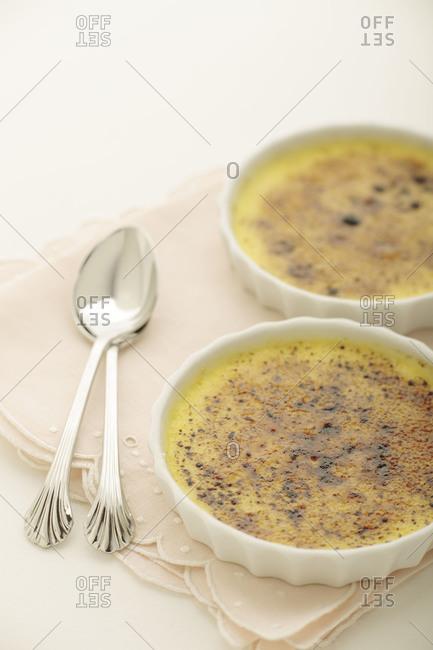 Creme brulee served in ramekins