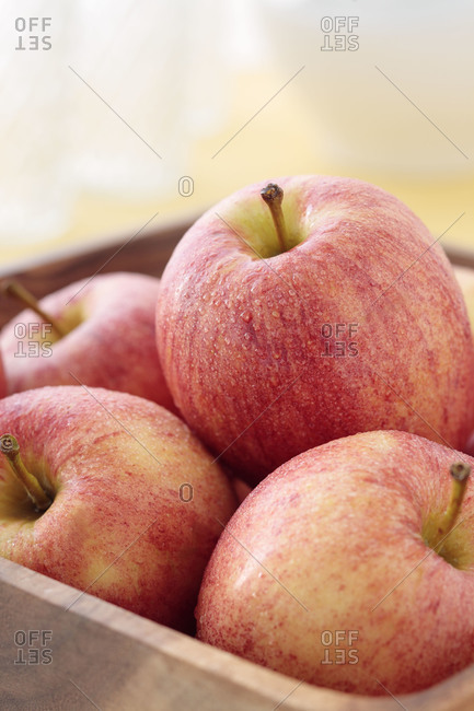 Close up of wet apples