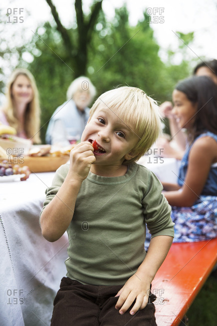 Boy at a garden party