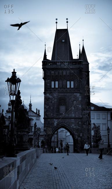 View to gate at Charles bridge, Prague