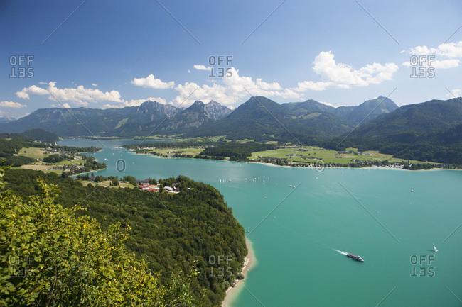 Lake Wolfgangsee, View to Strobl and Lake Abersee, Salzburg, Austria