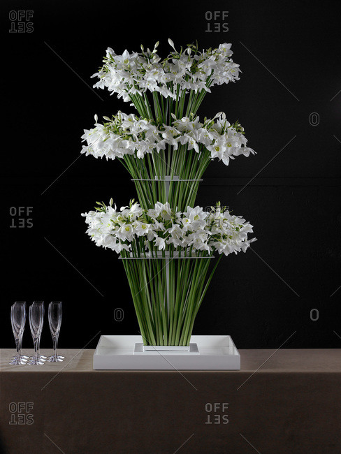Bouquets of white narcissus on a table