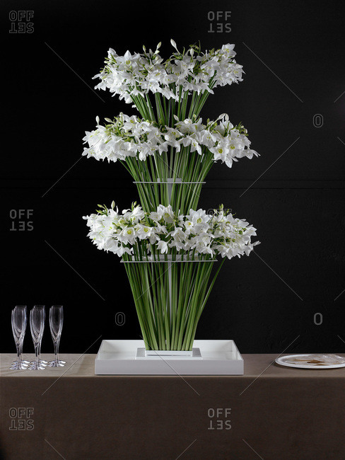 Table setting with white narcissus
