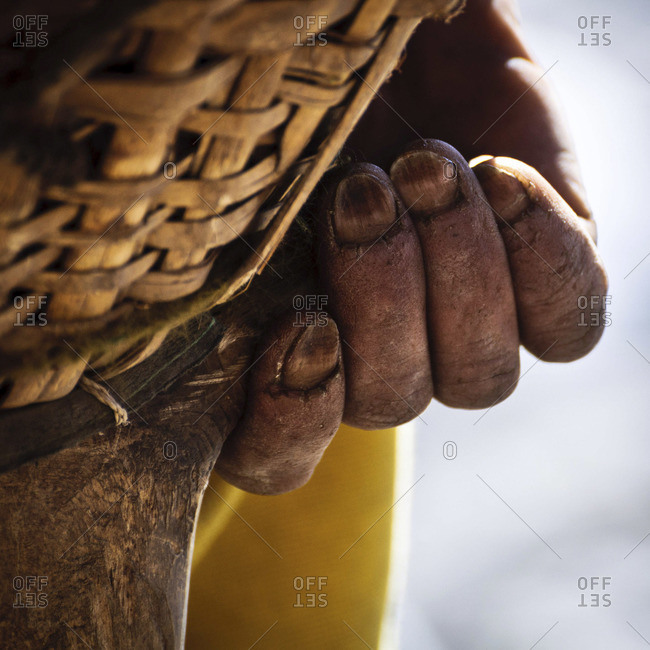 Close up of the hand of a porter while crossing the Cho La pass, Nepal