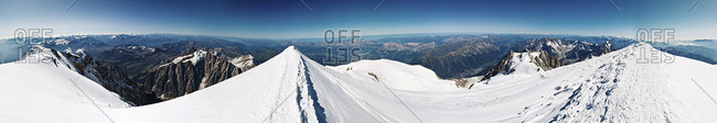 360 degrees panoramic view from the summit of Mont Blanc, Chamonix, France