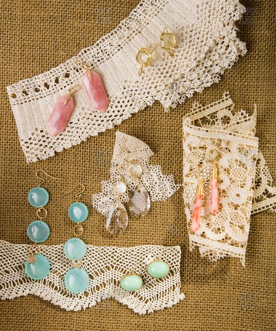 Top view of pastel earrings