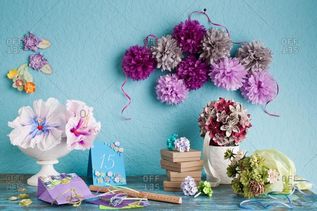 Still life of handmade paper flower decoration