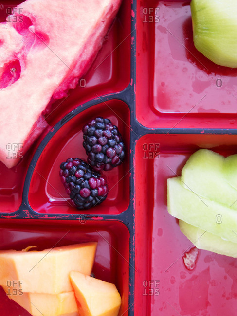 A selection of fruits in a dish
