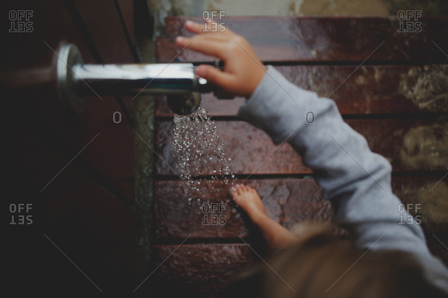 Top view of a girl in a shower cabin
