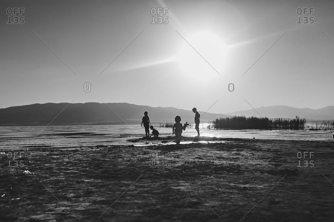 Silhouette view of children playing at the beach