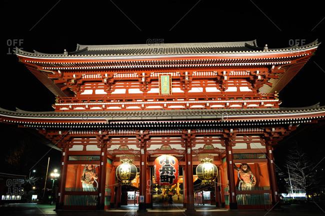 Senso-ji temple at night, Tokyo, Japan