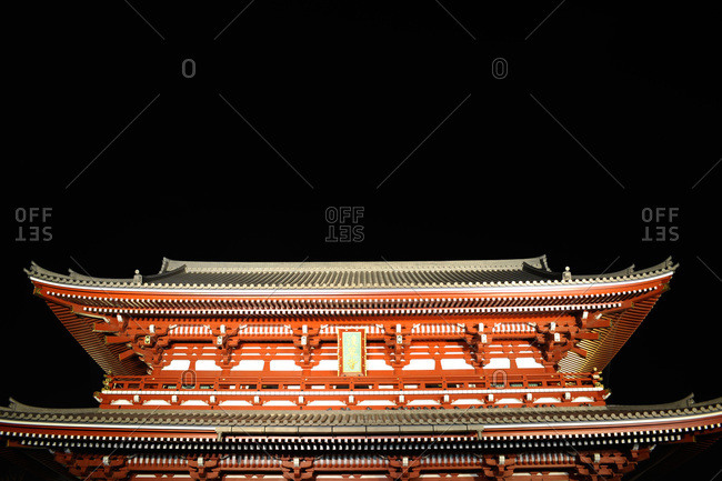 Senso-ji temple at night, Tokyo, Japan