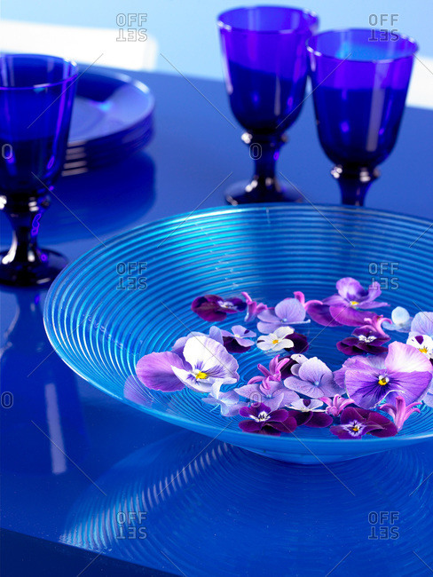 Petals floating in a blue bowl