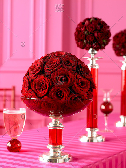 Deep red rose arrangements