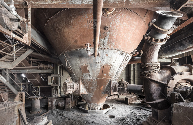 Large funnel chute of a forgotten coal plant