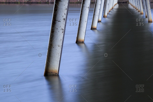 Pillars of a bridge at Lake Johnson, Raleigh