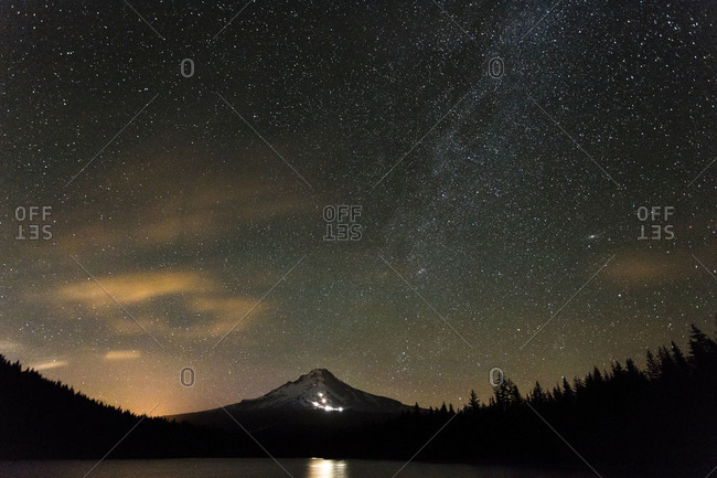 Mount Hood at night with the Milky Way, Oregon