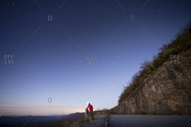 Man standing at Pounding Mill Overlook along the Blue Ridge Parkway in North Carolina