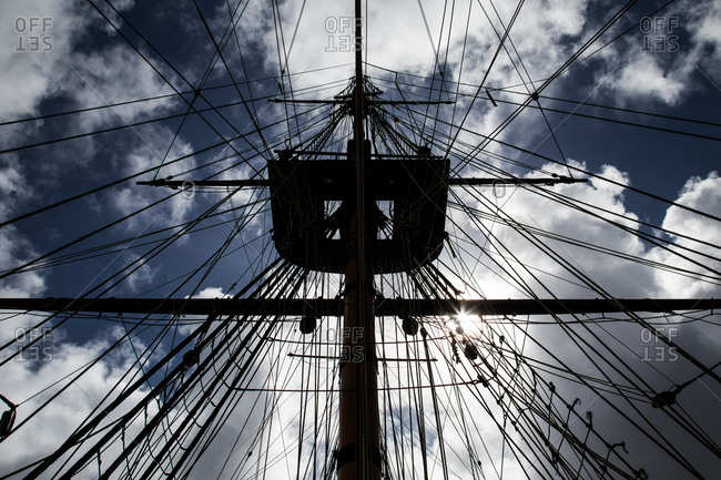 Low angle view of a ship's mast and rigging