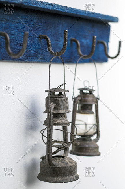 Oil lanterns hanging on a wall in Lanzarote, Canary Islands