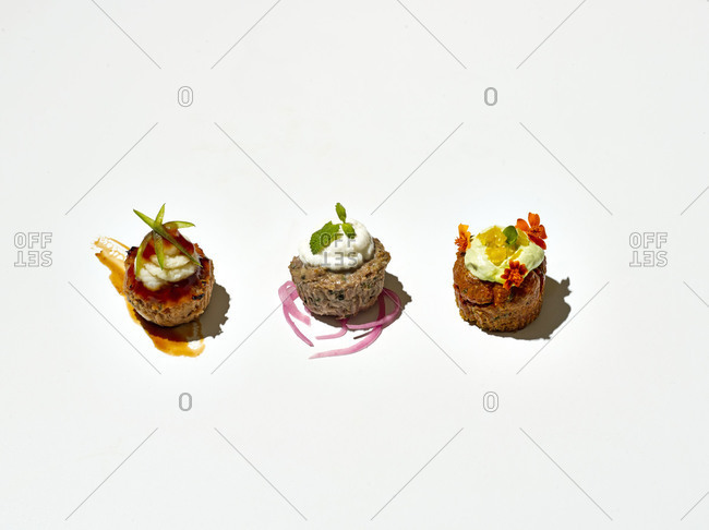 Three different savory cupcakes