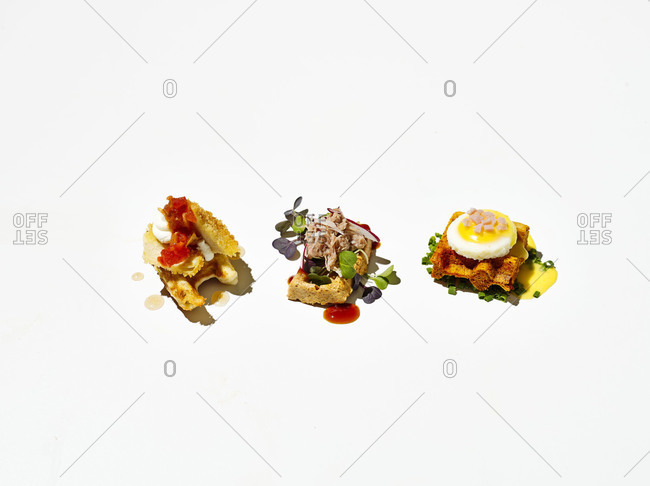 Three waffle-ettes on white background
