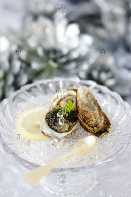 Close up of caviar served in oyster