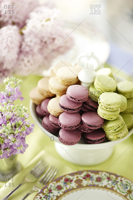 Colorful macaroons on a cake stand