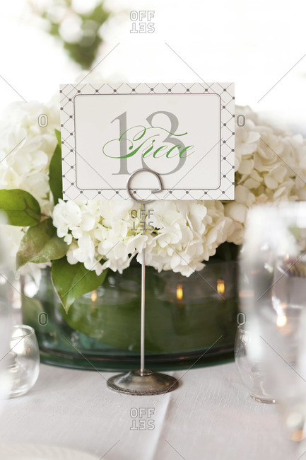 Table Decorations At Wedding Venue Stock Photo Offset