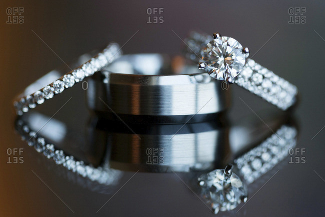 Close up of exquisite wedding rings