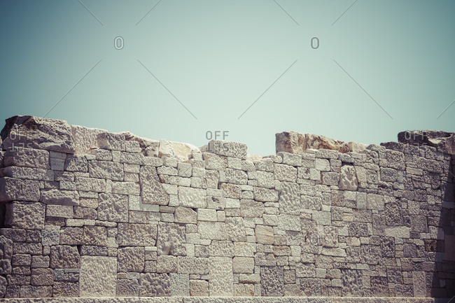 Temple of Sangri, Demeter Temple, Marble wall, Naxos, Cyclades, Greece