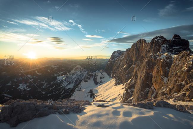 Sunset at Dachstein mountains, Salzkammergut, Austria